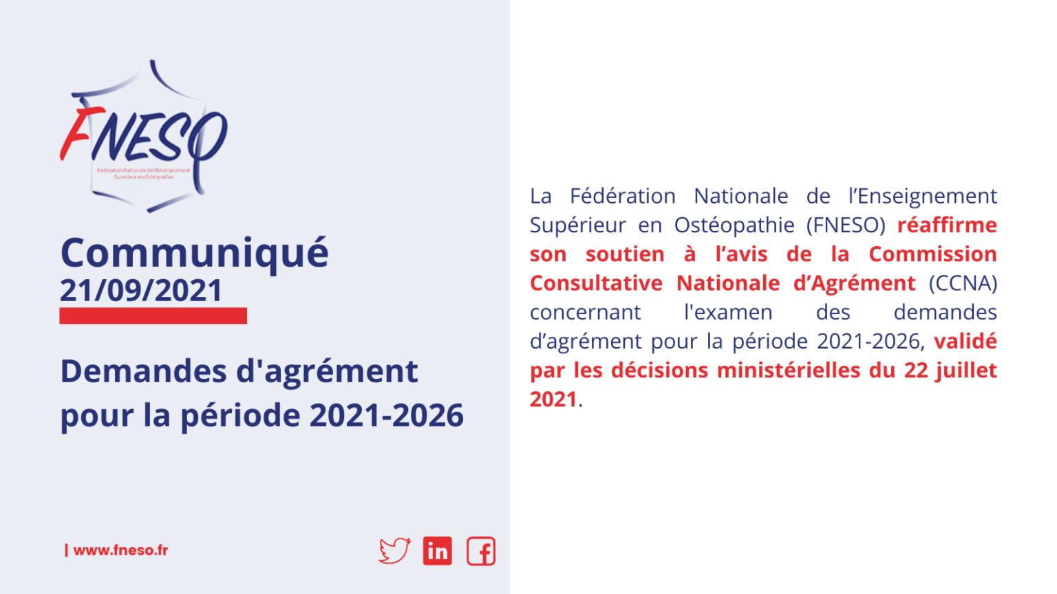 La FNESO réaffirme son soutien à l'avis de la Commission Consultative Nationale d'Agrément (CCNA) concernant l'examen des demandes d'agrément pour la période 2021-2026.